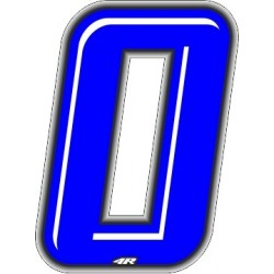 ADHESIVE RACING BLUE NUMBER 0 HEIGHT 10 CM