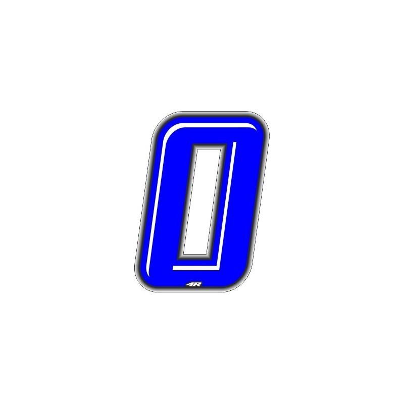 ADESIVO RACING BLU NUMERO 0 ALTEZZA 10 CM