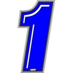 ADESIVO RACING BLU NUMERO 1 ALTEZZA 10 CM