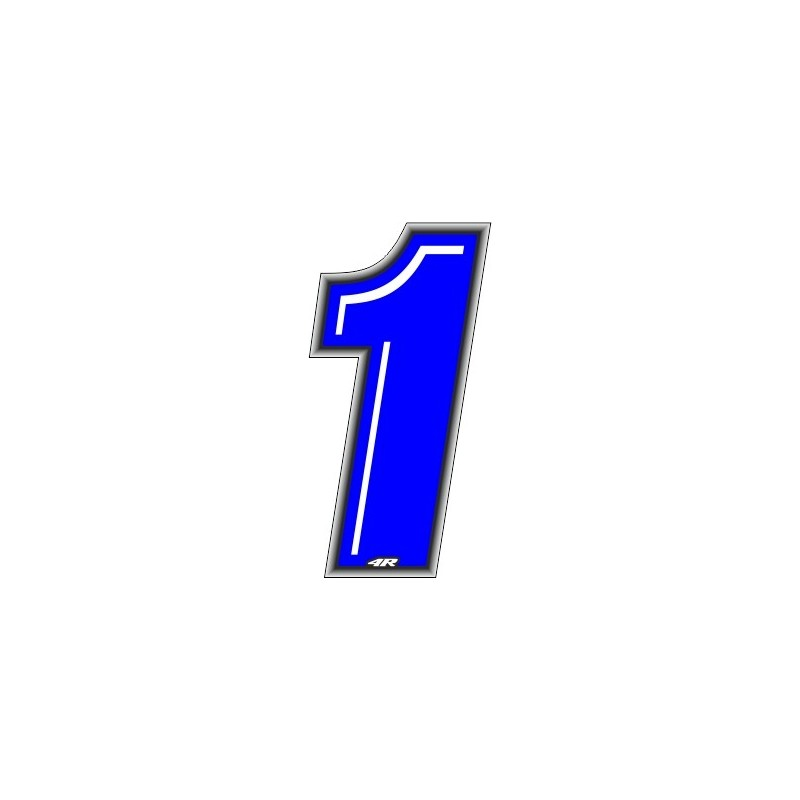 ADHESIVE RACING BLUE NUMBER 1 HEIGHT 10 CM