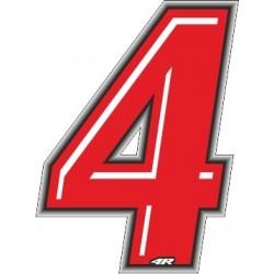 ADESIVO RACING ROSSO NUMERO 4 ALTEZZA 10 CM
