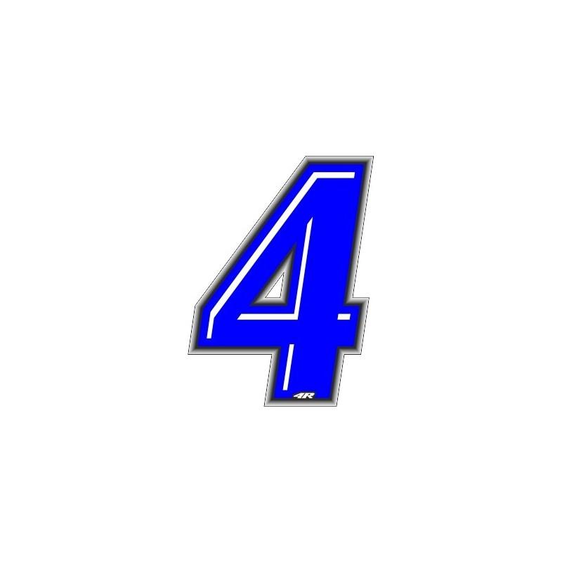 ADESIVO RACING BLU NUMERO 4 ALTEZZA 10 CM