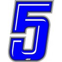 ADHESIVE RACING BLUE NUMBER 5 HEIGHT 10 CM