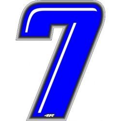 ADESIVO RACING BLU NUMERO 7 ALTEZZA 10 CM