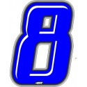 STICKER RACING BLUE NUMBER 8 HEIGHT 10 CM