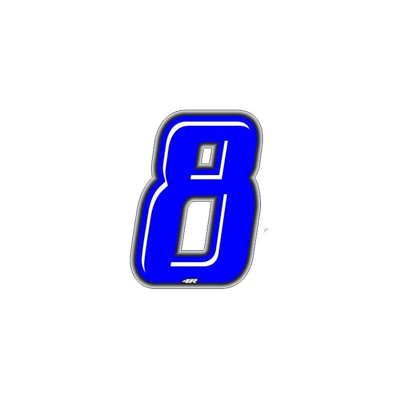 ADESIVO RACING BLU NUMERO 8 ALTEZZA 10 CM