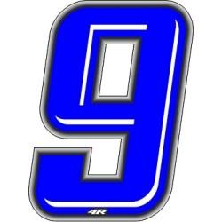 ADESIVO RACING BLU NUMERO 9 ALTEZZA 10 CM