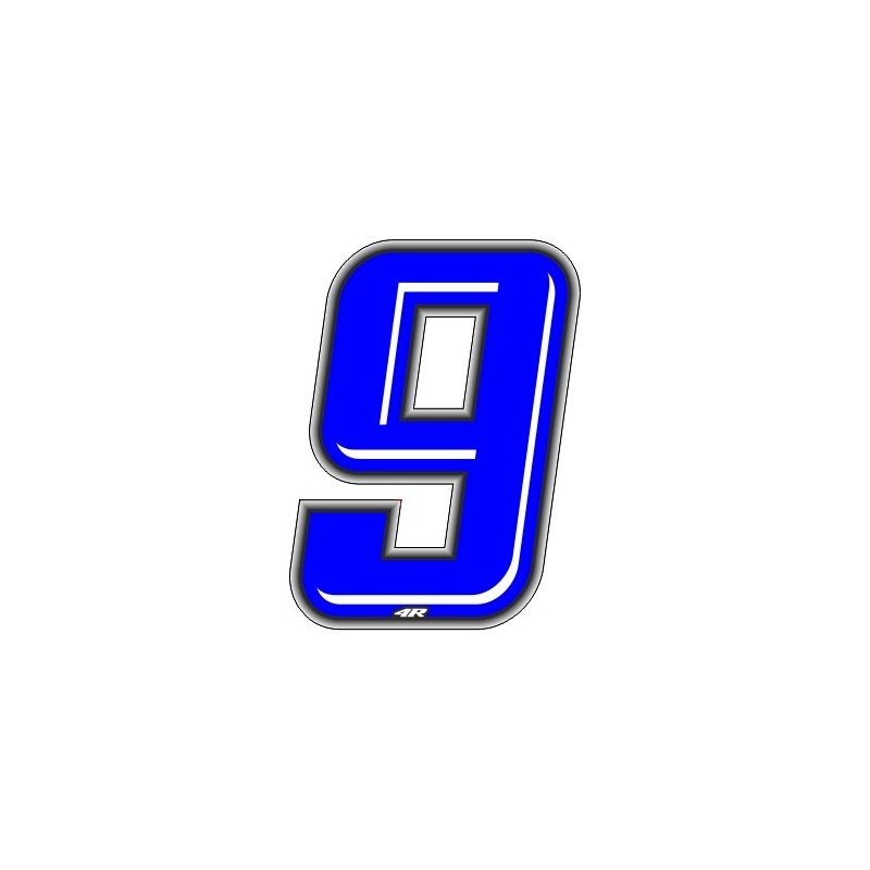 ADHESIVE RACING BLUE NUMBER 9 HEIGHT 10 CM
