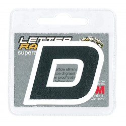 ECO-LEATHER STICKER LETTER D BLACK WHITE EDGE HEIGHT 45 MM