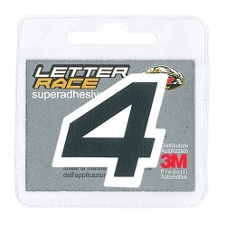 ADHESIVE ECO-LEATHER NUMBER 4 BLACK WHITE EDGE HEIGHT 45 MM