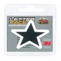STICKER FAUX LEATHER SYMBOL STAR BLACK BLACK WHITE EDGE HEIGHT 45 MM