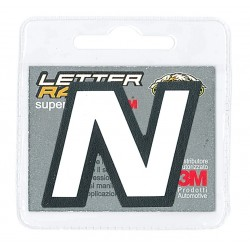 ADHESIVE ECO-LEATHER LETTER N WHITE BLACK EDGE HEIGHT 45 MM