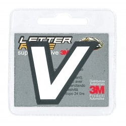 STICKER ECOPELLE LETTER V WHITE BLACK BORDER HEIGHT 45 MM