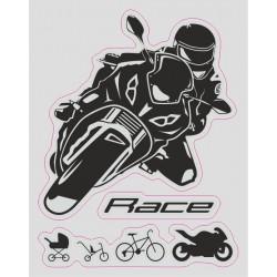 ADESIVO LOGO EVOLUZIONE MOTO RACE CM 12 X 10