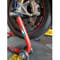 MOTORCYCLE FRONT STAND WITH SINGLE ROLLER SUPPORTS FOR RADIAL CALIPER