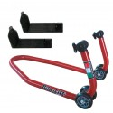 MOTORCYCLE FRONT STAND WITH SYMETRIC CONE SUPPORTS
