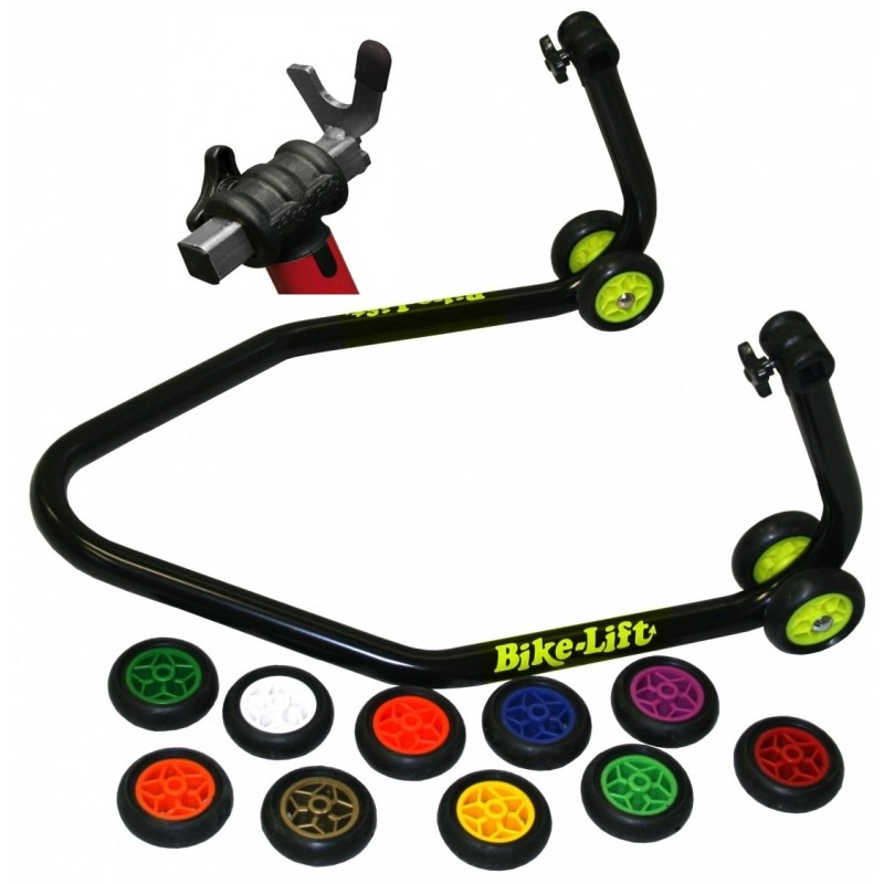 BLACK MOTORCYCLE REAR STAND WITH COLORED WHEELS AND FORK SUPPORTS