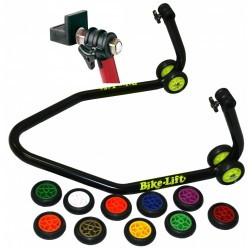BLACK MOTORCYCLE REAR STAND WITH COLORED WHEELS AND RUBBER SUPPORTS