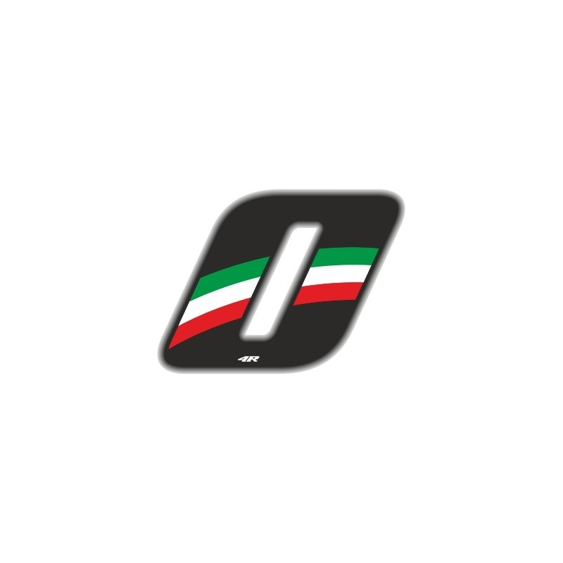 ADESIVO RACING FLAG NUMERO 0 H 6,5 CM