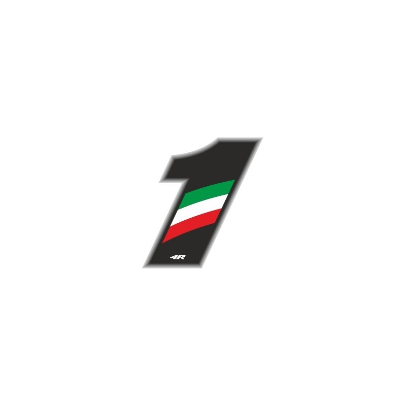 ADESIVO RACING FLAG NUMERO 1 H 6,5 CM
