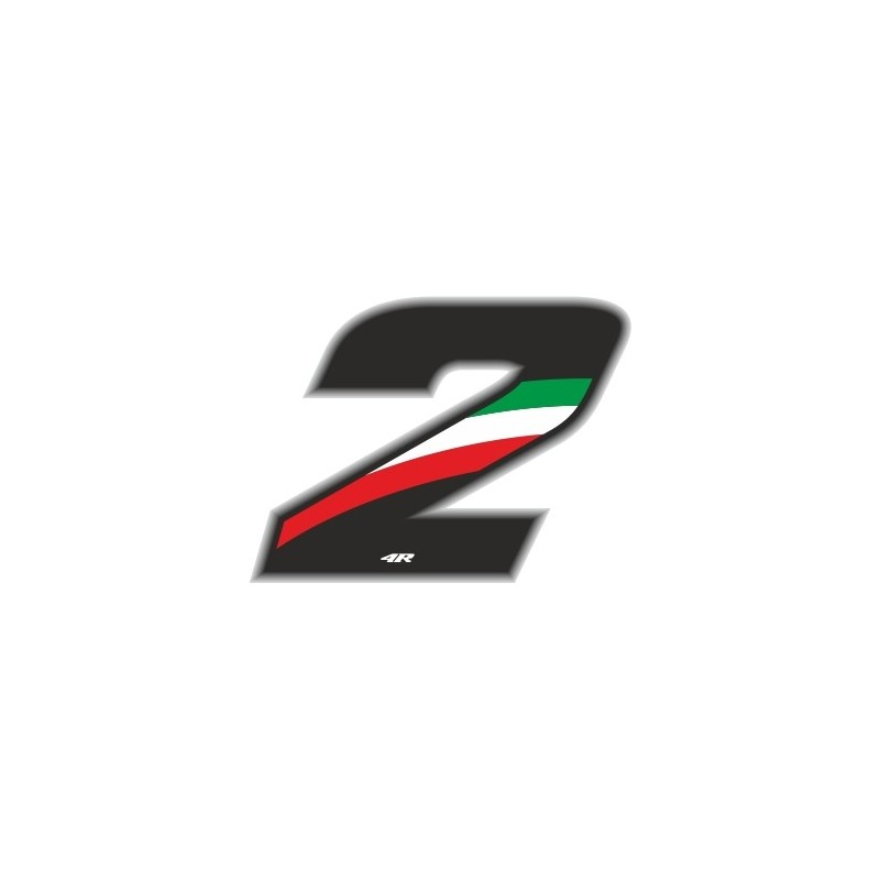 ADESIVO RACING FLAG NUMERO 2 H 6,5 CM