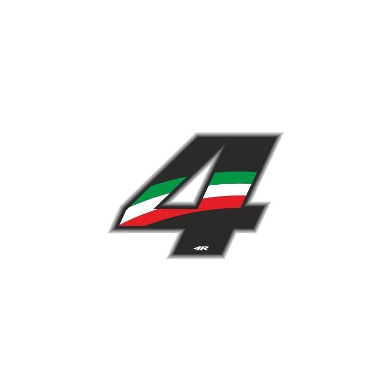 ADESIVO RACING FLAG NUMERO 4 H 6,5 CM