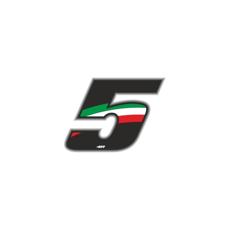 ADESIVO RACING FLAG NUMERO 5 H 6,5 CM