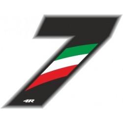 ADESIVO RACING FLAG NUMERO 7 H 6,5 CM