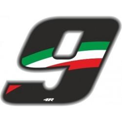 ADESIVO RACING FLAG NUMERO 9 H 6,5 CM