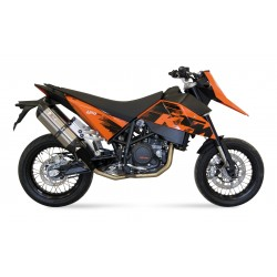 PAIR OF MIVV SOUND EXHAUST SYSTEMS IN STAINLESS STEEL WITH CARBON BASE FOR KTM SUPERMOTO 690 2007/2010, APPROVED