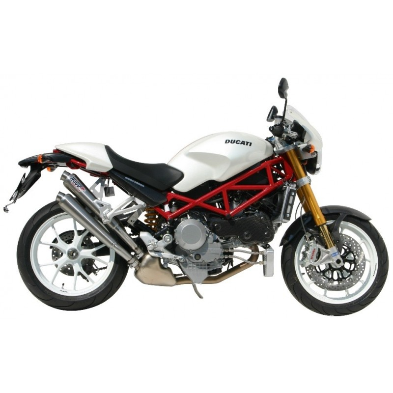 PAIR OF EXHAUST MIVV X-CONE STAINLESS STEEL FOR DUCATI MONSTER S4RS 2006/2009, APPROVED