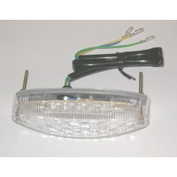 RED LED REAR HEADLIGHT WITH TRANSPARENT LENS, APPROVED