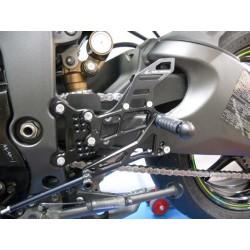 PEDANE ARRETRATE REGOLABILI 4-RACING PER KAWASAKI ZX-6R 2009/2016 (cambio standard e rovesciato)