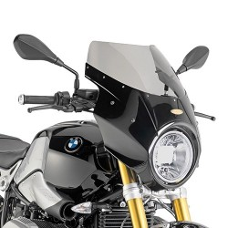 GIVI WINDSHIELD WITH FIBERGLASS FAIRING FOR BMW R NINE T 2014/2020, SMOKE COLOR