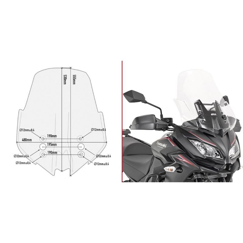 GIVI CUPOLINO FOR KAWASAKI VERSYS 1000 2017/2018, TRANSPARENT