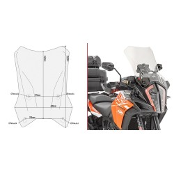 WINDSHIELD GIVI FOR KTM 1290 SUPER ADVENTURE R/S 2017/2020, TRANSPARENT