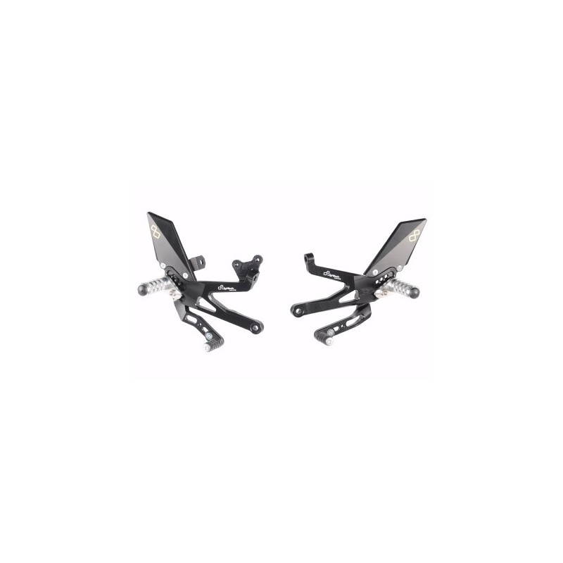 LIGHTECH ADJUSTABLE REAR SETS WITH FIXED FOOTRESTS FOR DUCATI PANIGALE V4 2018/2019 (standard / reverse shifting)