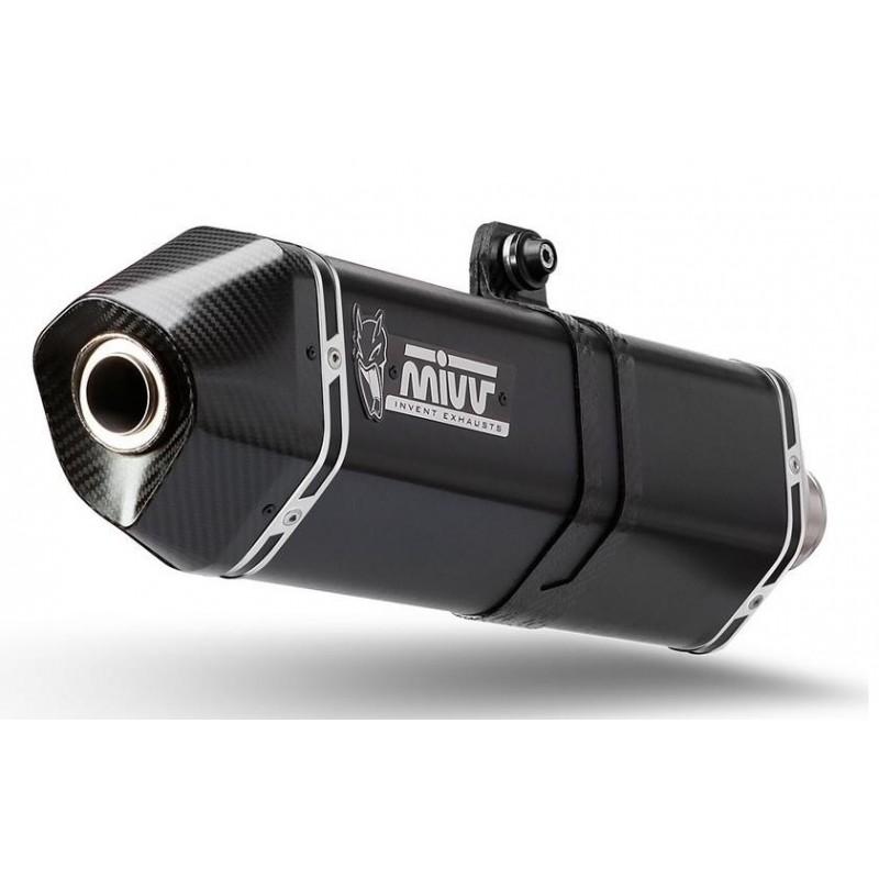 TERMINALE DI SCARICO MIVV SPEED EDGE BLACK IN ACCIAIO INOX CON FONDELLO IN CARBONIO PER BMW R NINE T 2014/2020, OMOLOGATO